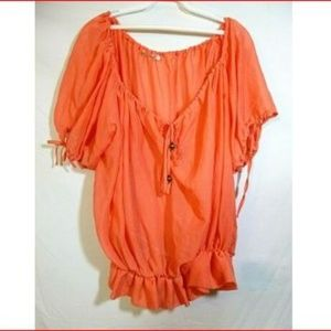 Guess Apricot  Semi Sheer Pullover Blouse Size S